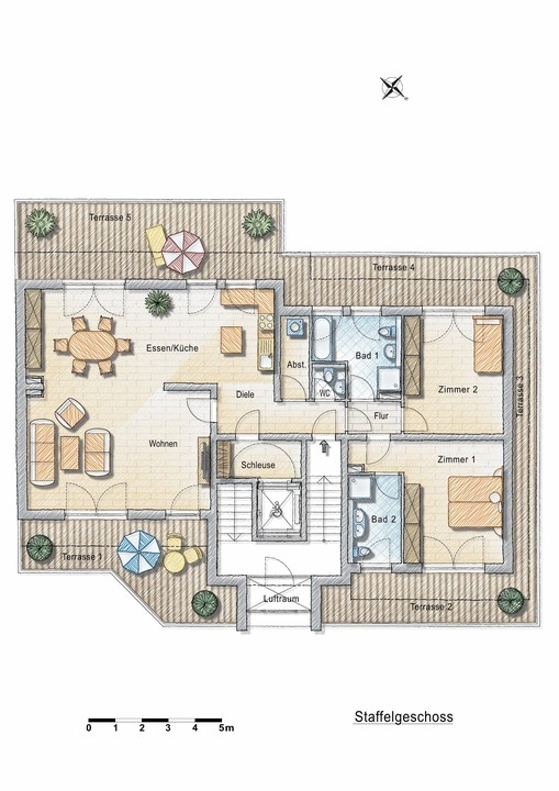 Neubau! Penthouseetage mit umlaufender Dachterrasse!