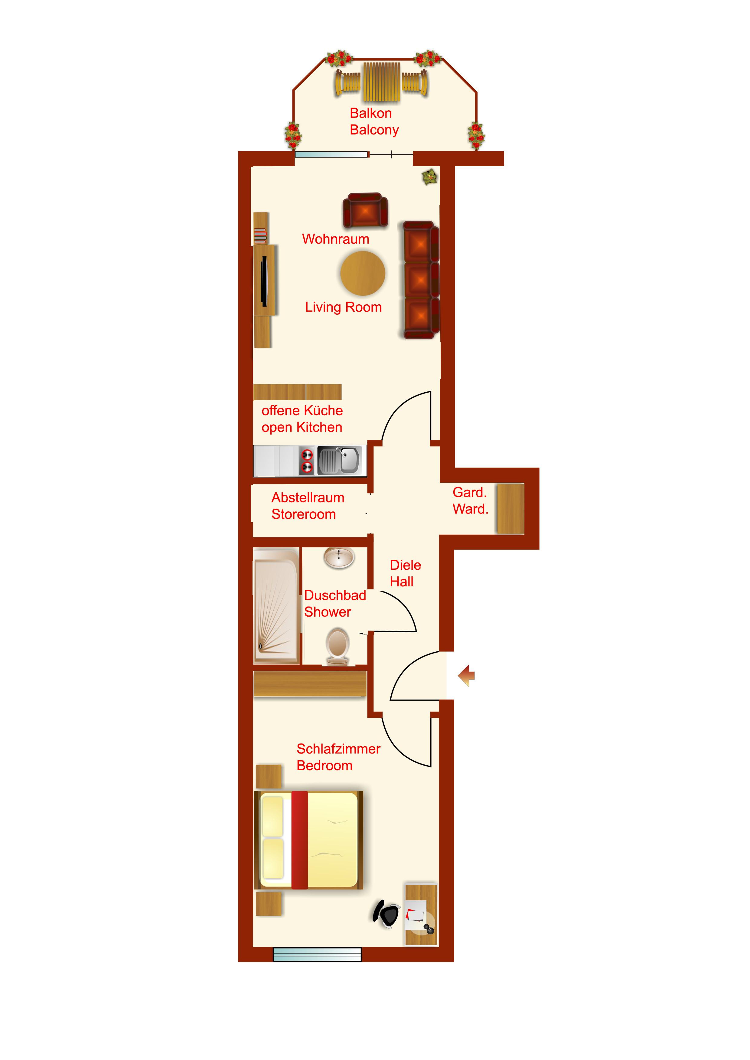 Kernsanierte, gemütliche 2 Zimmer Wohnung mit Küche und Süd-/Westbalkon