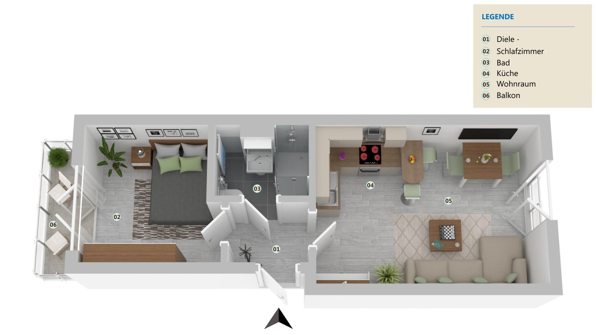 Wunderschöne, kernsanierte und komplett möblierte Altbauwohnung mit offener Küche
