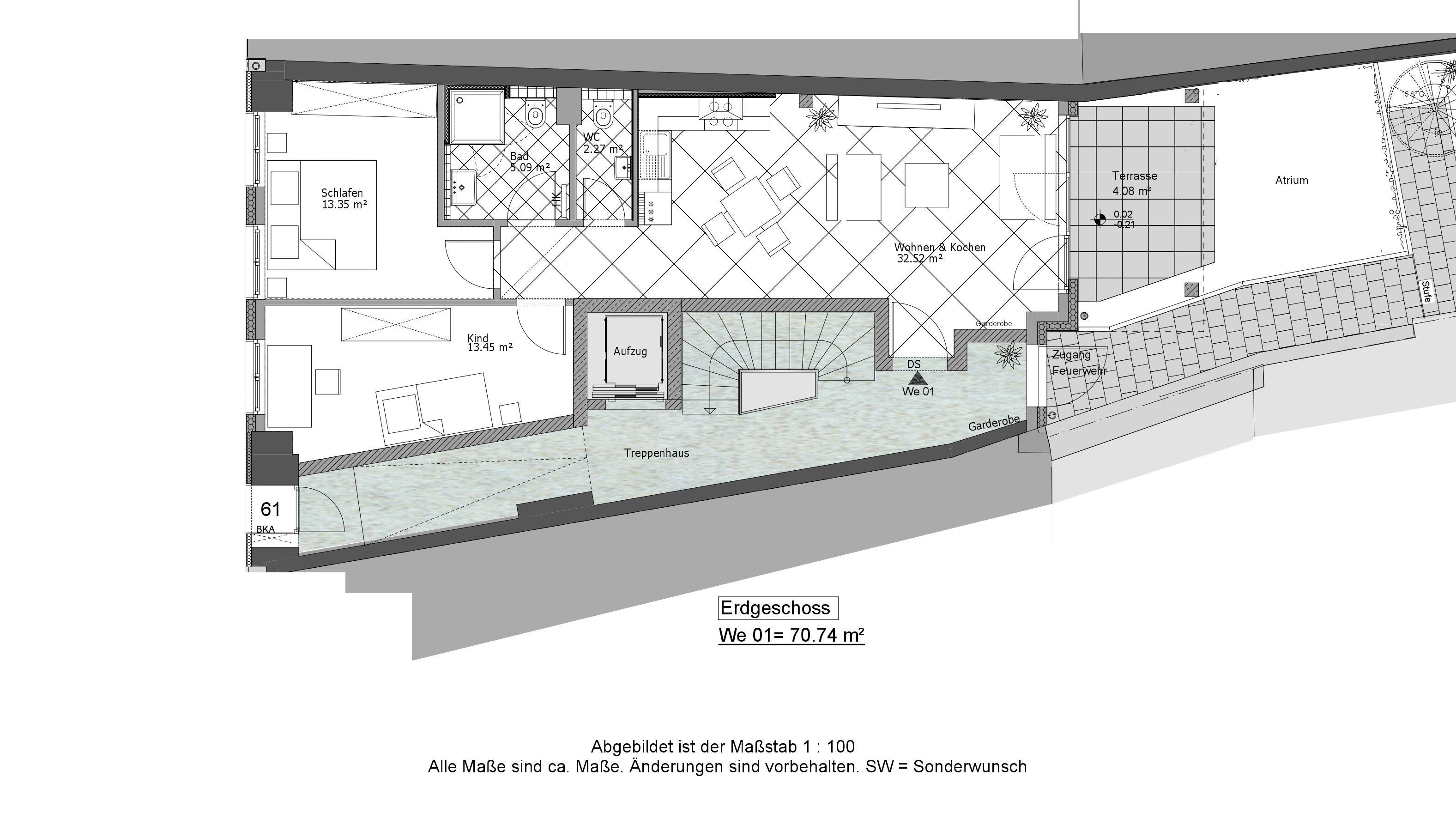 Attraktive Neubau-Eigentumswohnung mit Terrasse und Atrium inmitten der City