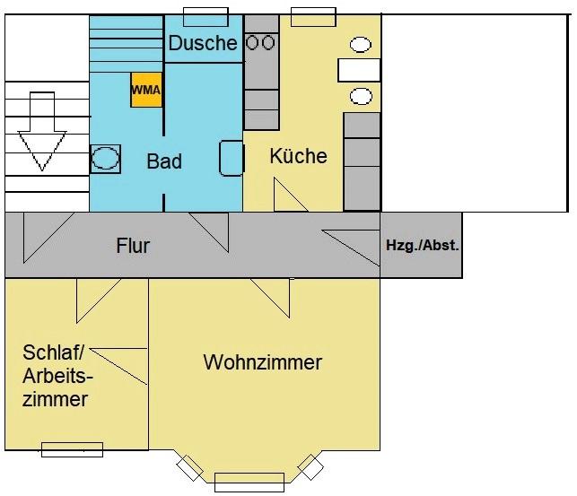 Zweiraumwohnung mit EBK und Fußbodenheizung