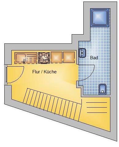 1-Raumwohnung mit Einbauküche unweit der Schlossinsel